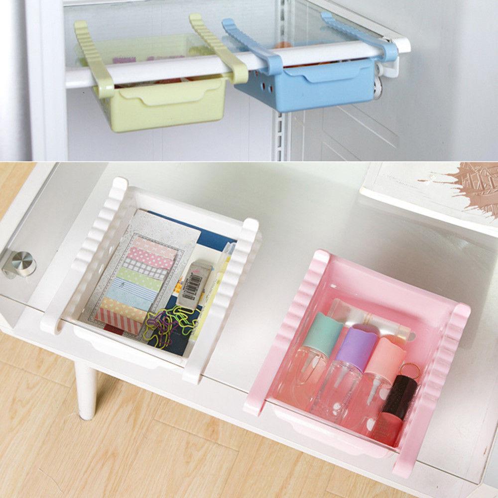 Plastic Sliding Fridge Space Saving Organizers Food Storage Boxes Shelf Drawers 1
