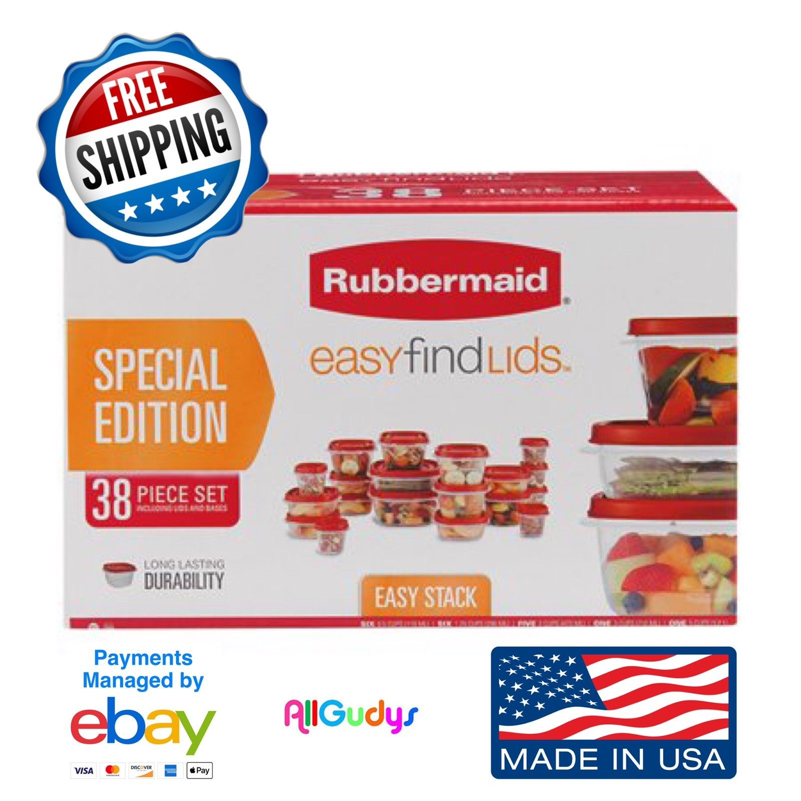 Rubbermaid Food Storage 38 Piece Set with Easy Find Lids, Red SPECIAL EDITION 1