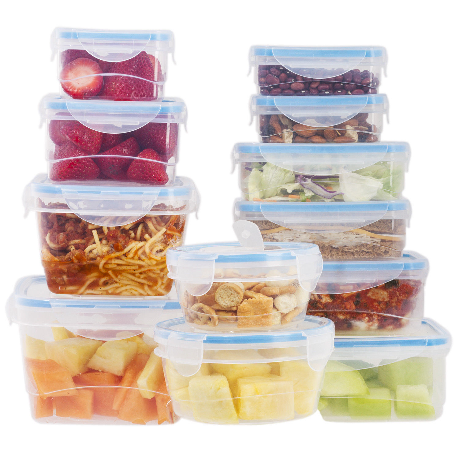 24 Pcs Plastic Food Storage Containers Set With Blue Air Tight Locking Lids 1
