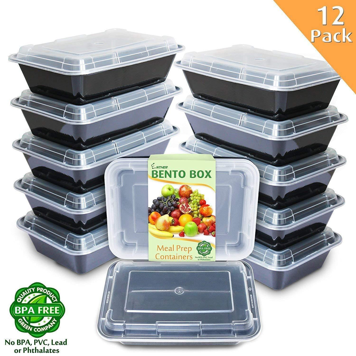 Meal Prep Containers [12 Pack] 1 Compartment with Lids Food Storage Bento Box 1