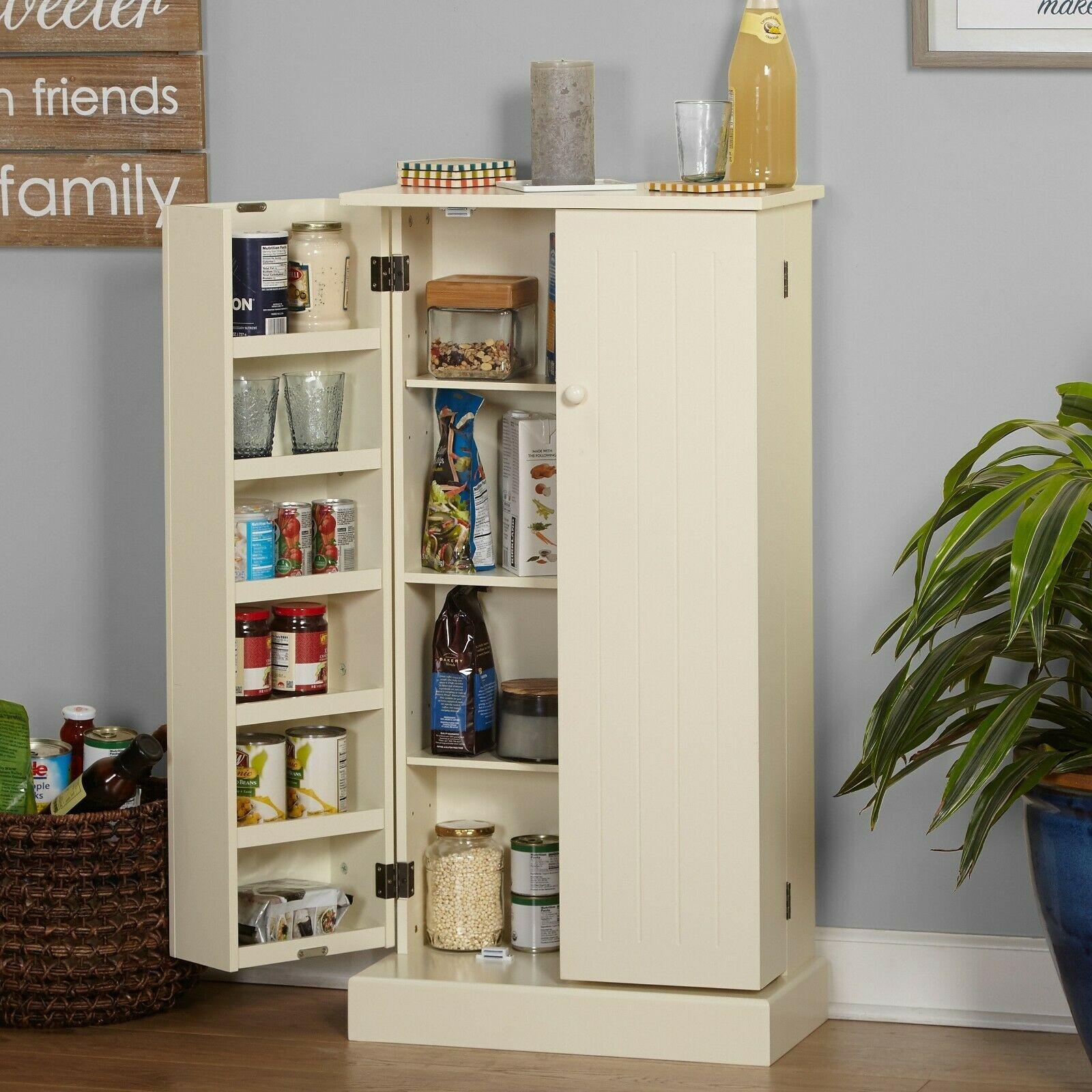 Kitchen Pantry Cabinet Storage Food Cupboard 16 Shelves Wooden Rack White Shelf 1