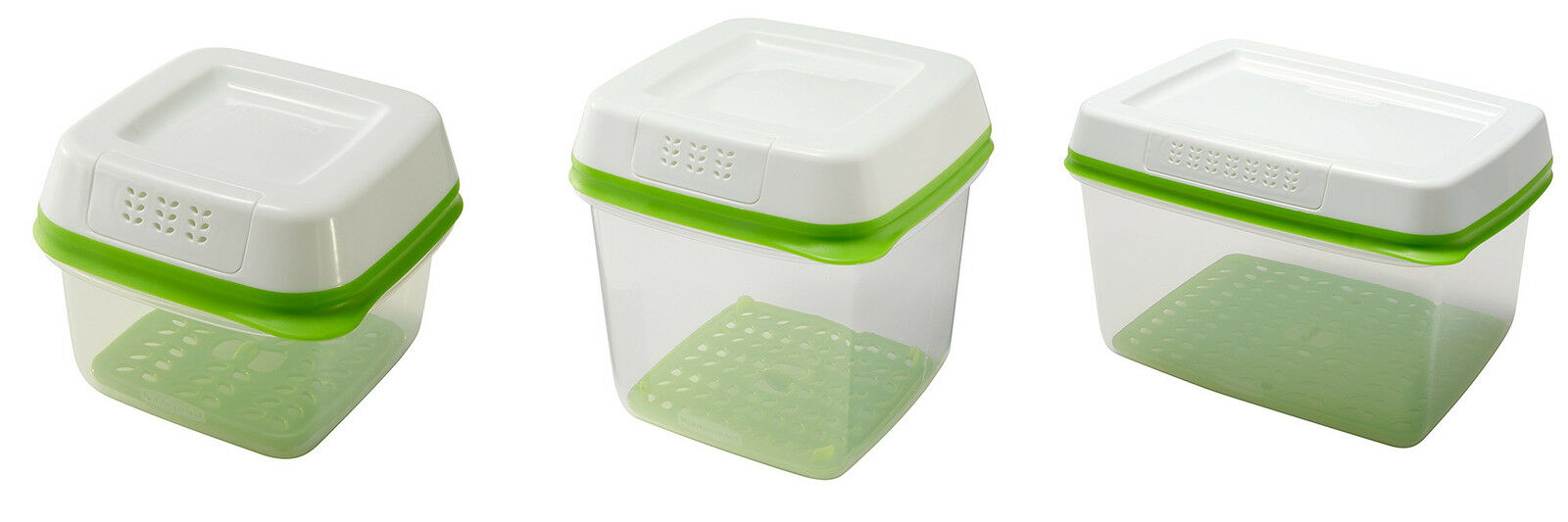 Rubbermaid FreshWorks Produce Saver Food Storage Containers, Green, 3 Sizes 1