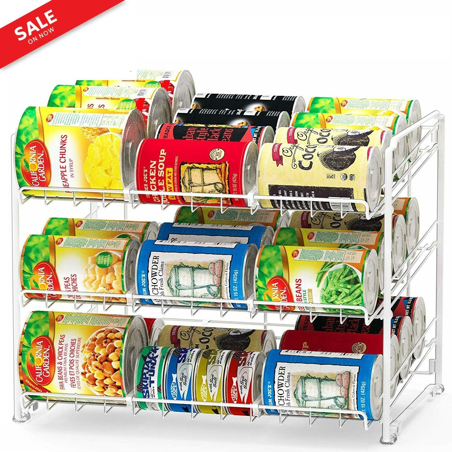 36 CANS STORAGE DISPENSER Food ORGANIZER Home CAN RACK Shelf Pantry STACKABLE 1