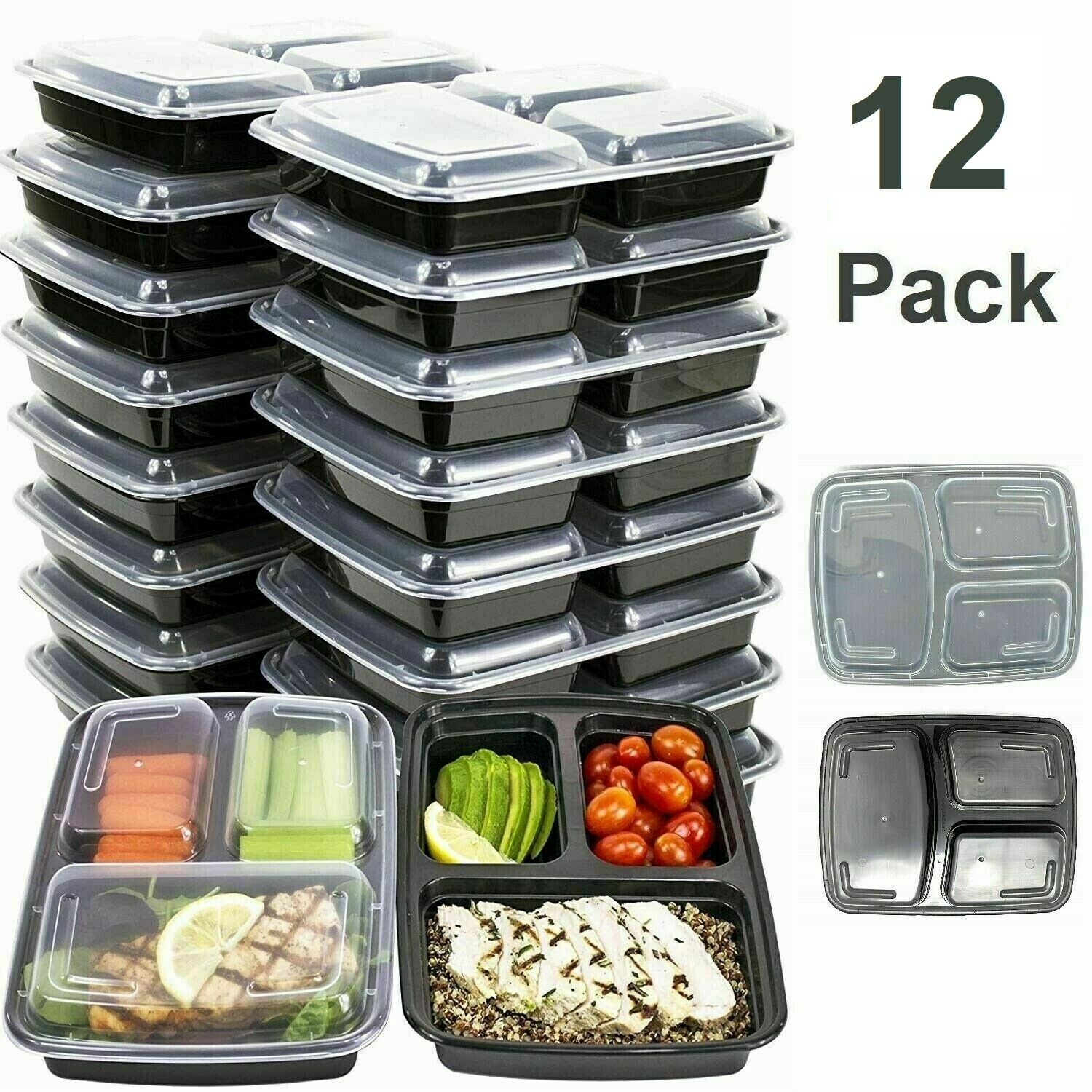 MEAL PREP CONTAINERS 3 Compartment Microwave Safe Reusable Food Storage 12 PACK 1