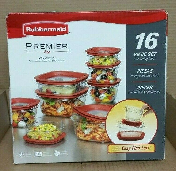 Rubbermaid Premier Food Storage Containers with Easy Find Lids 16-Piece Set New 1