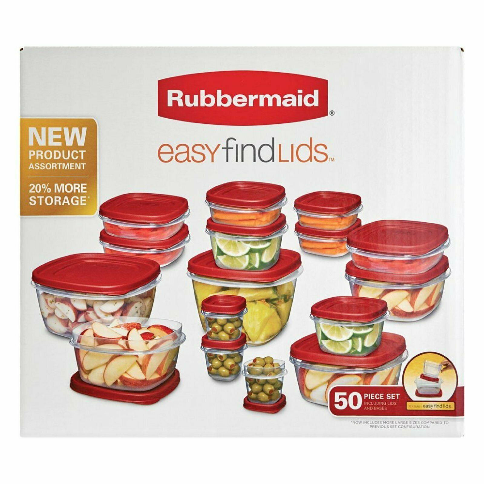 Rubbermaid 50-Piece Easy Find Lids Food Storage Kitchen Dishes Convenience Set 1