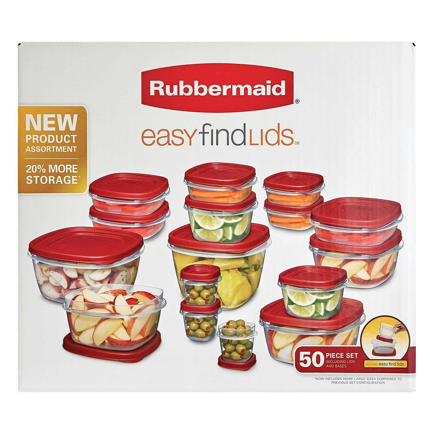 Rubbermaid 50-Piece Easy Find Lids Food Storage Set 1