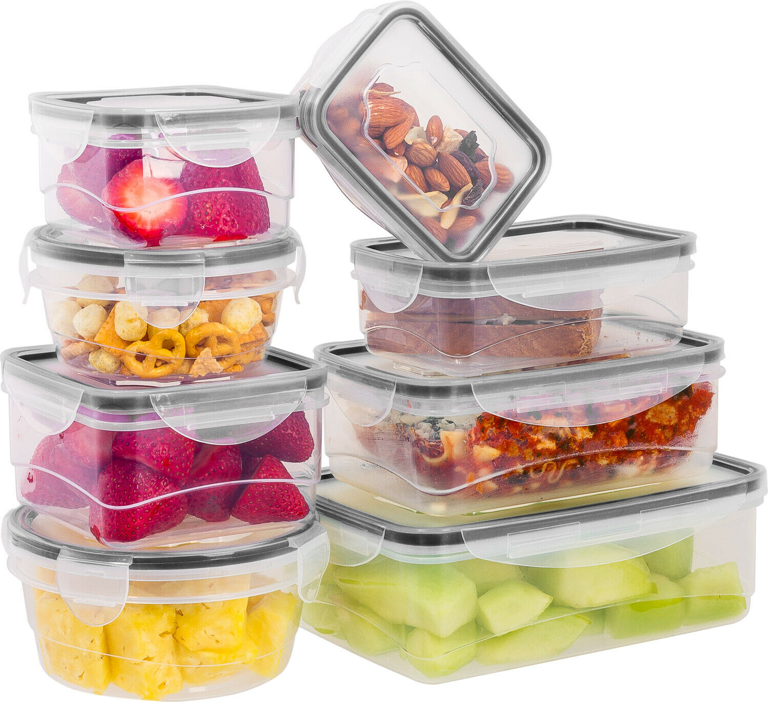 16 Pcs Plastic Food Storage Containers Set With Air Tight Locking Lids 1
