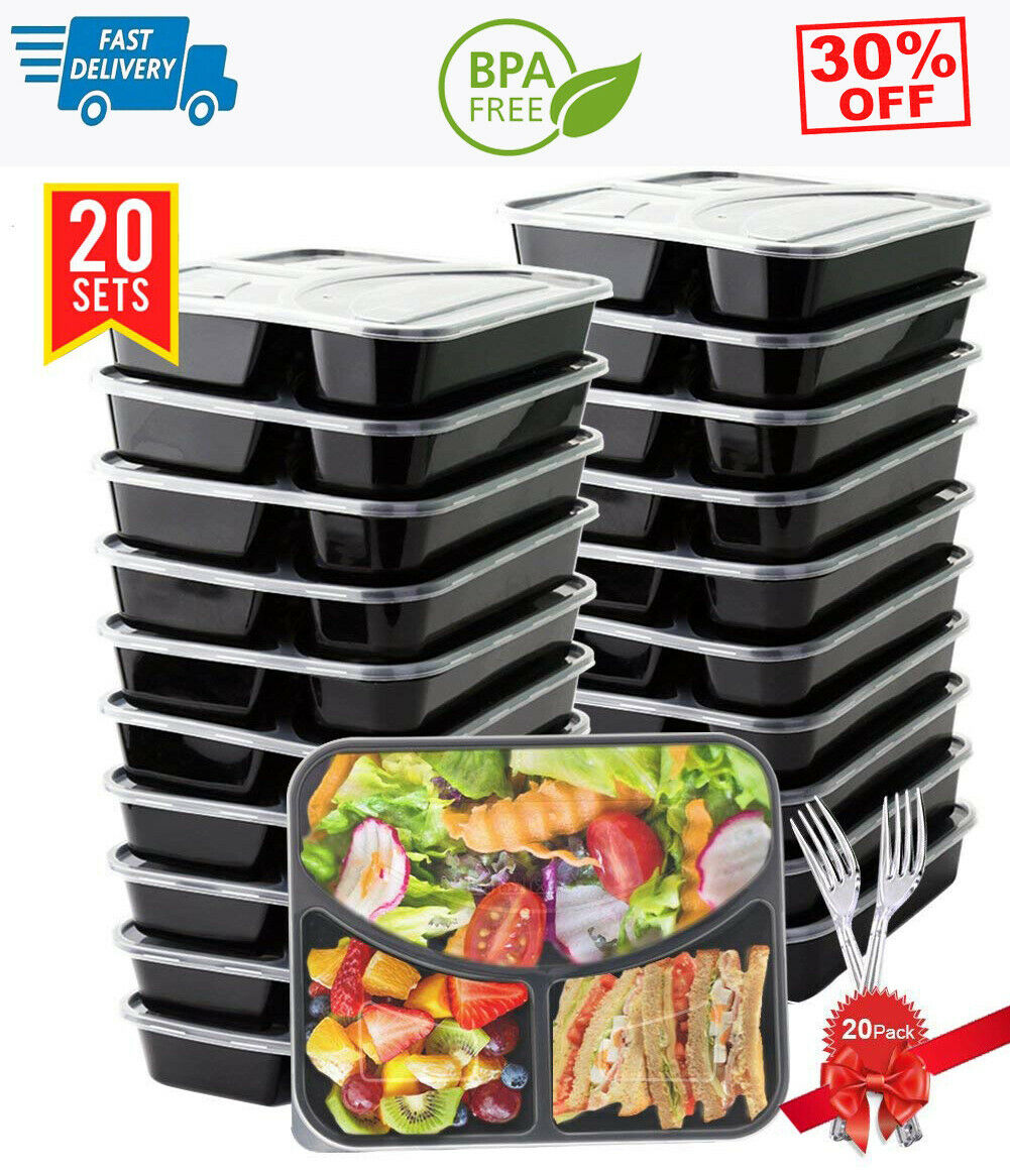 20 Pack 3 Compartment with Lids Meal Prep Containers Food Storage Bento Box 1