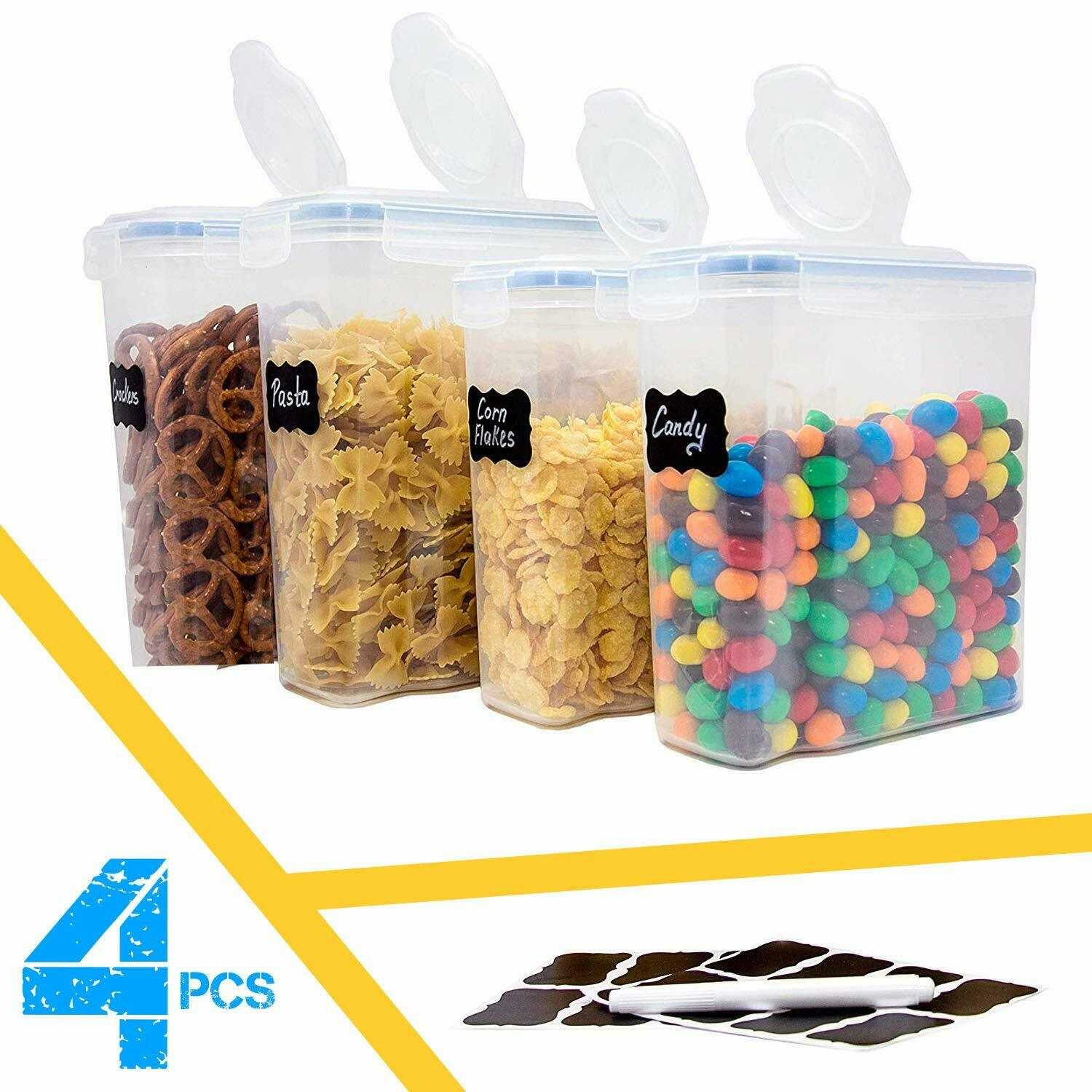 Cereal Container Airtight BPA Free Kitchen Dry Food Storage Containers Set of 4 1
