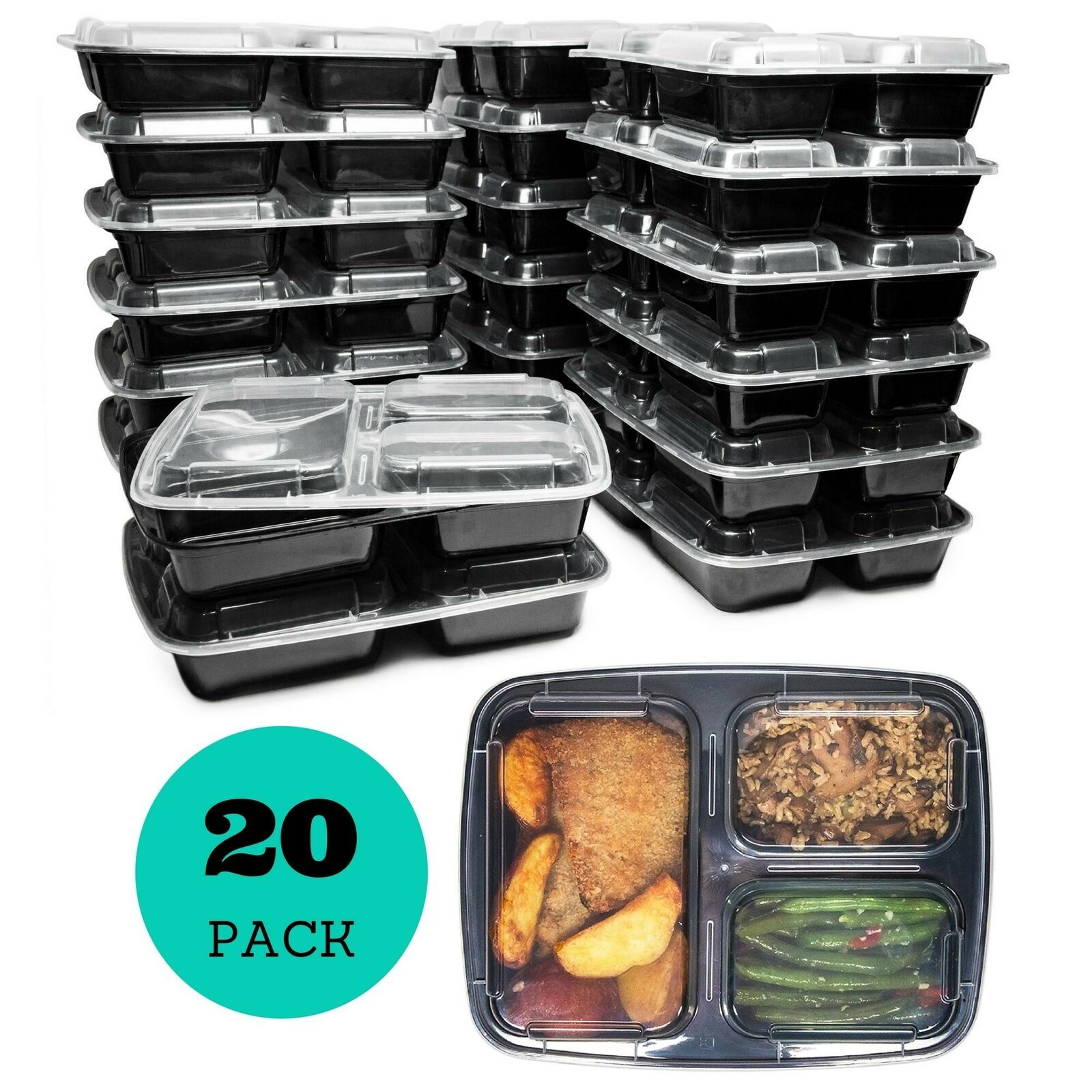 Meal Prep Containers (20 Pack) 3 Compartments, 32 oz, Food Storage Bento Box 1