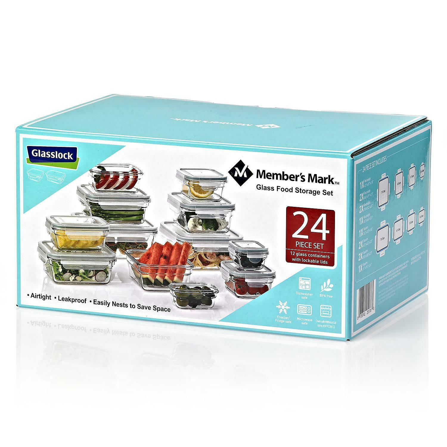 Member's Mark 24-Piece Glass Food Storage Containers Set by Glasslock BPA Free 1