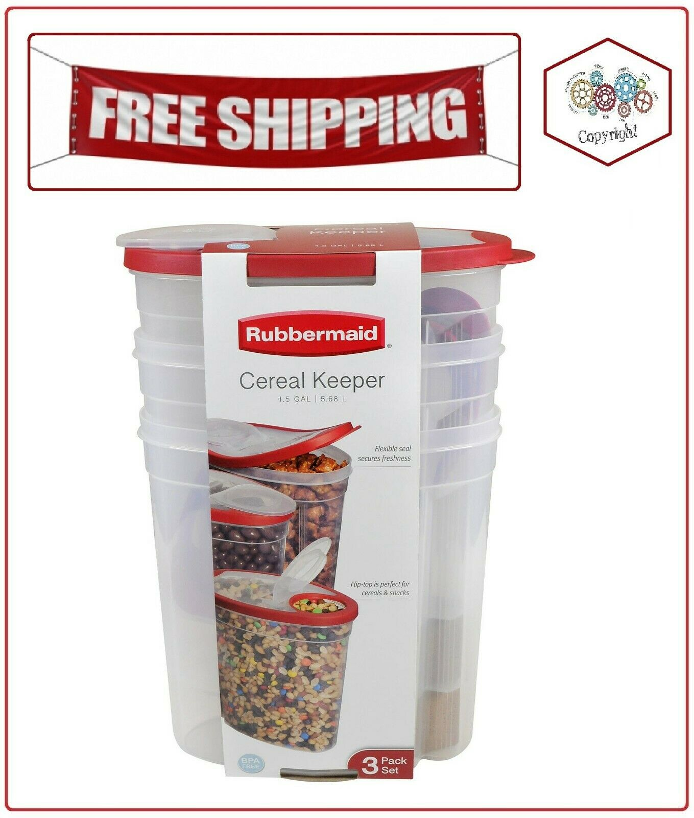 Rubbermaid Cereal Keeper Kitchen Dry Food Storage Container 3 PK Assorted Color 1