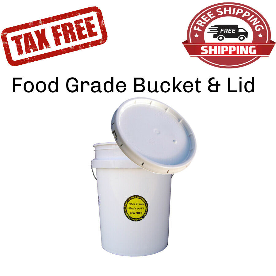 COMMERCIAL PLASTIC BUCKET W/ LID 5 Gallon Food Grade Paint Storage All Purpose 1