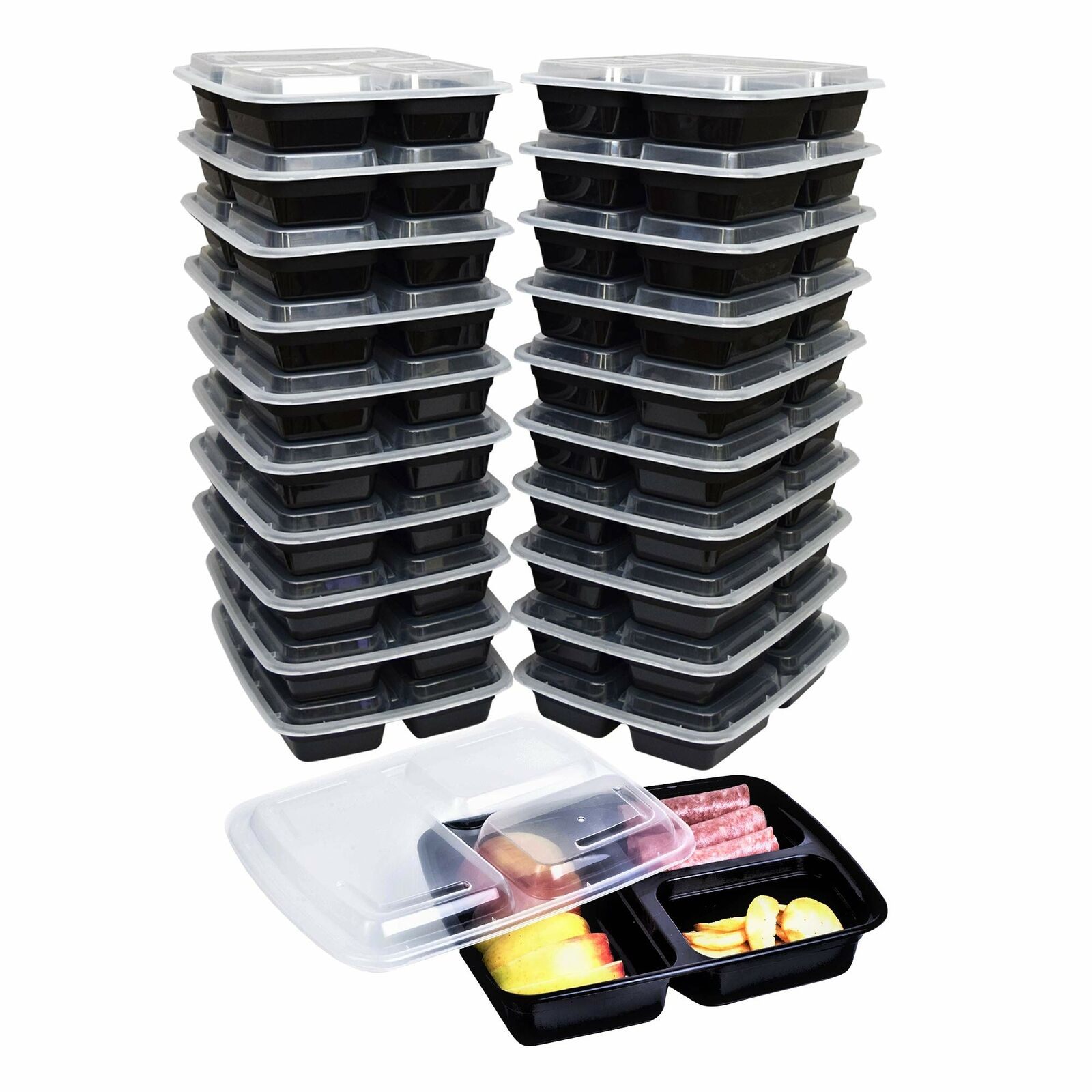 Green Direct 3 Compartment Meal Prep Containers with lids - Plastic Lunch Boxes 1
