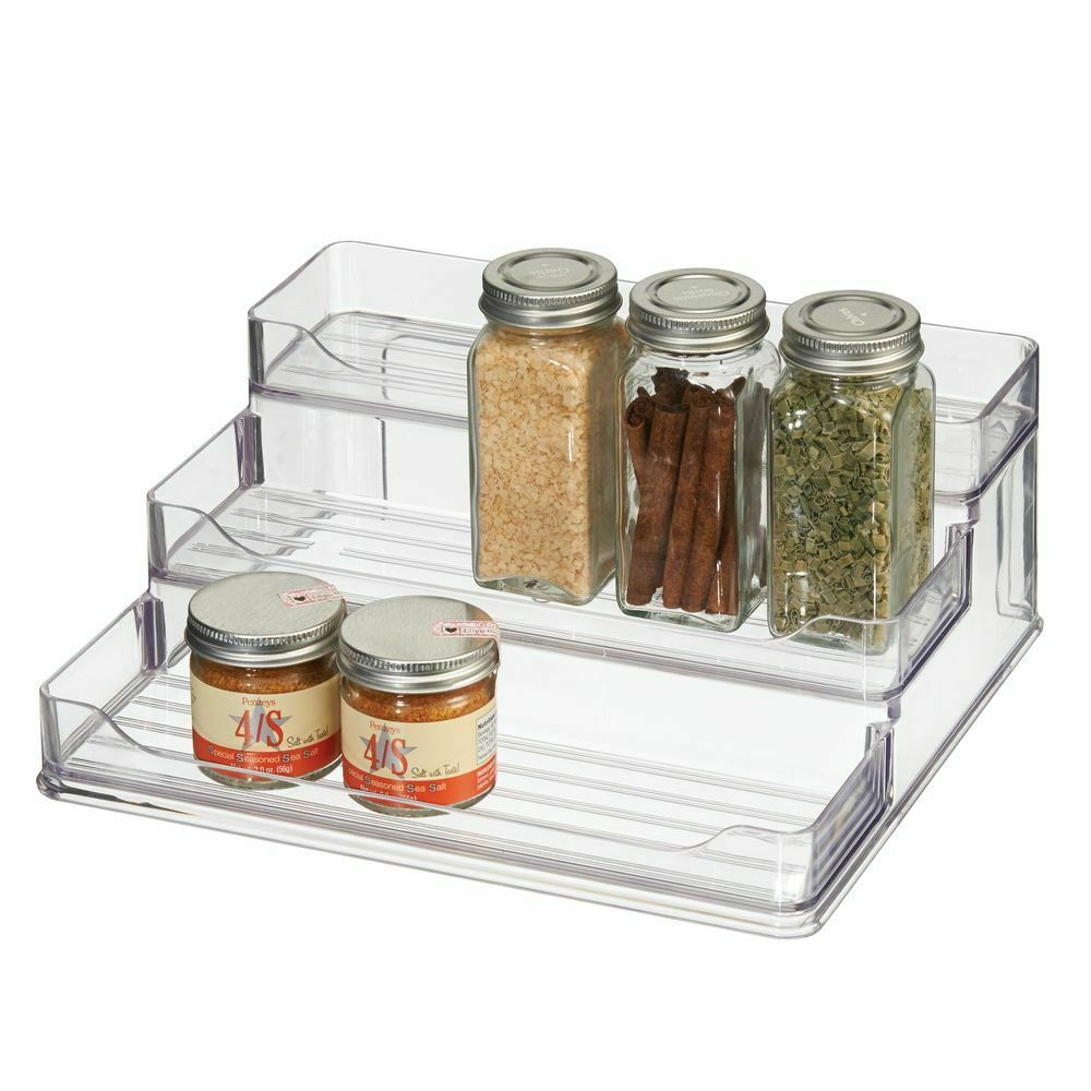 mDesign Plastic Spice and Food 3 Tier Kitchen Shelf Storage Organizer - Clear 1