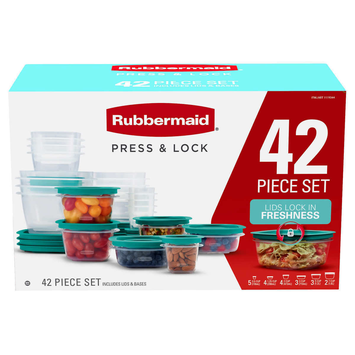 RUBBERMAID PRESS AND LOCK 42 PIECE EASY FIND LID CONTAINERS SET 199 NEW 1