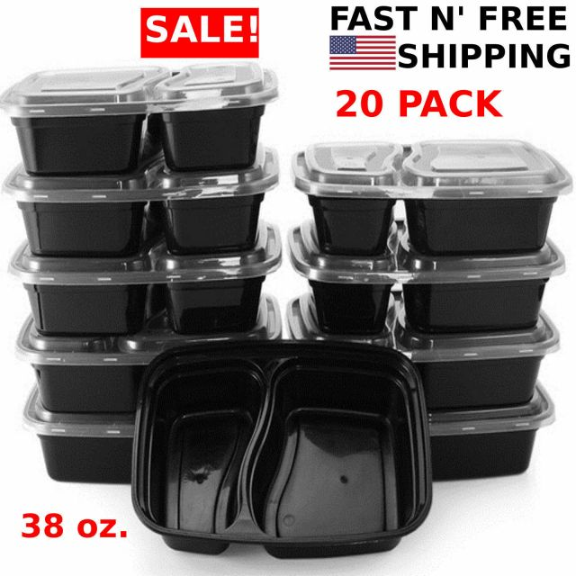 20 Meal Prep Containers 2 Compartment Food Storage Plastic Reusable Microwavable 3
