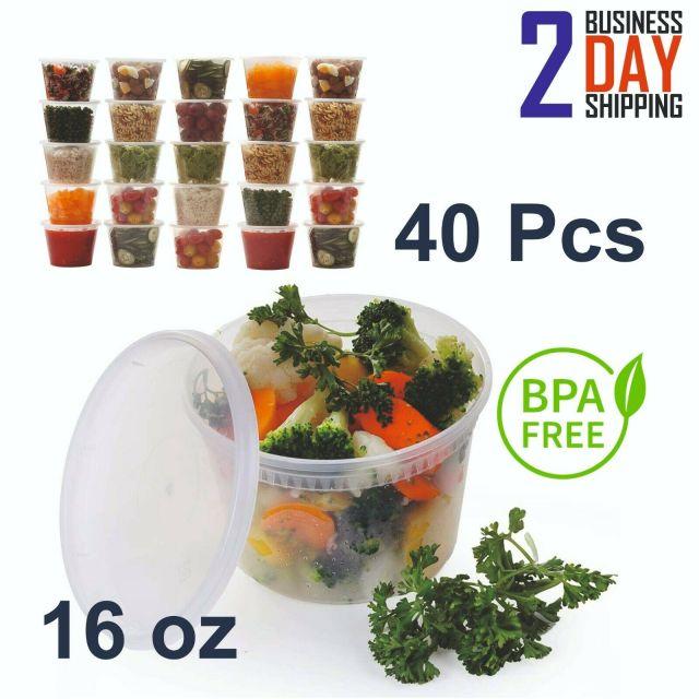 40 Pcs 16oz Large Plastic Food Storage Containers Set With Lids Durable Reusable 10