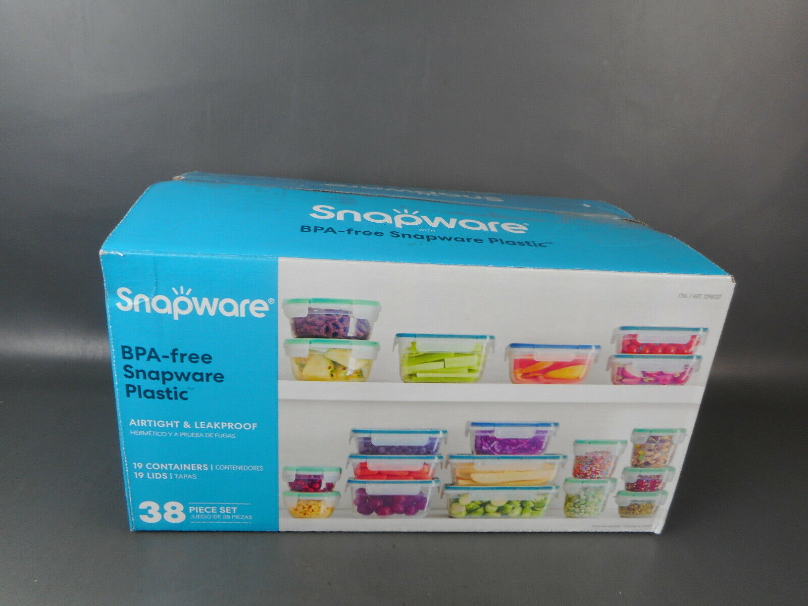 Plastic Food Storage Set, 38 Pieces, Snapware Food Storage (Complete) Opened Box 1