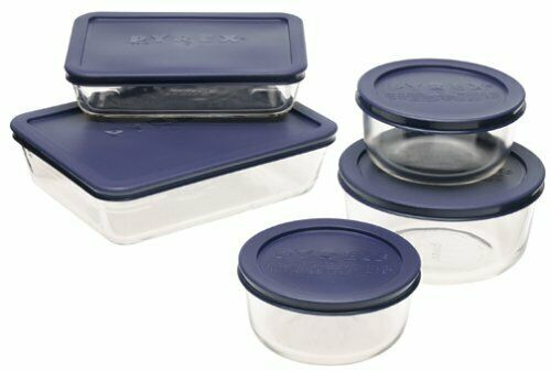 Pyrex Simply Store 10-Piece Glass Food Storage Set with Blue Lids, New 6