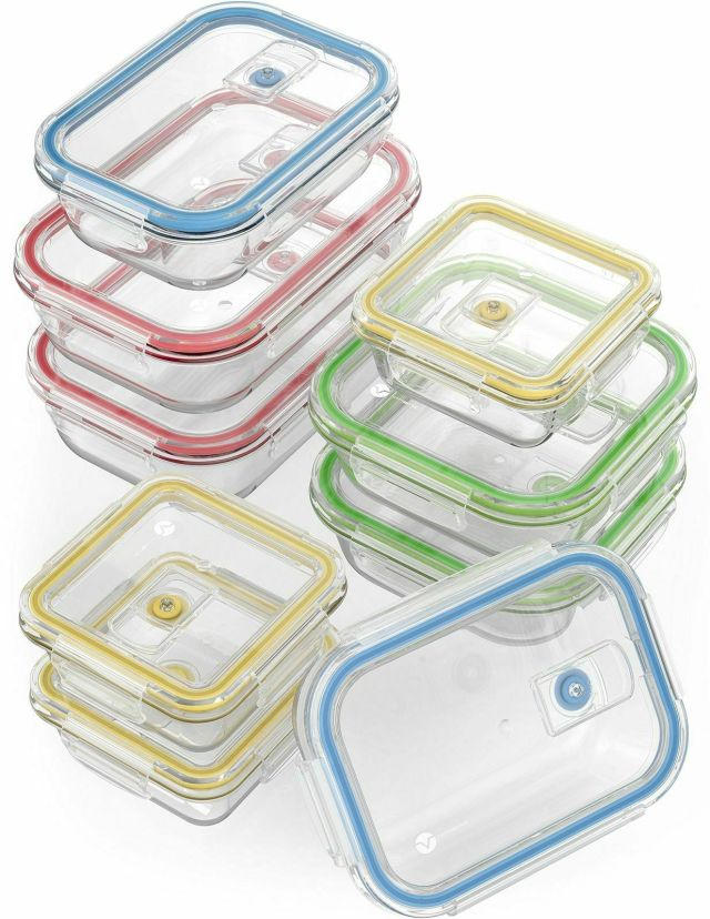 Vremi 18 Piece Glass Food Storage Containers with Locking Lids BPA Free Air NEW! 10