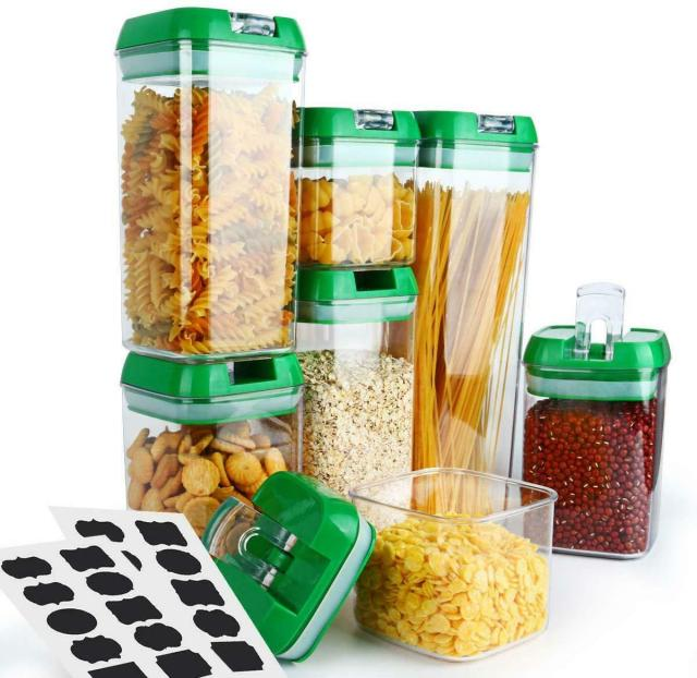 Cereal Container 7 Piece Airtight Storage Containers Food Flour Chips Container 1