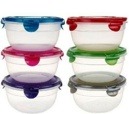 Lock & Lock K42529 Round Food Storage Container Plastic Multi-color Set of 6 8