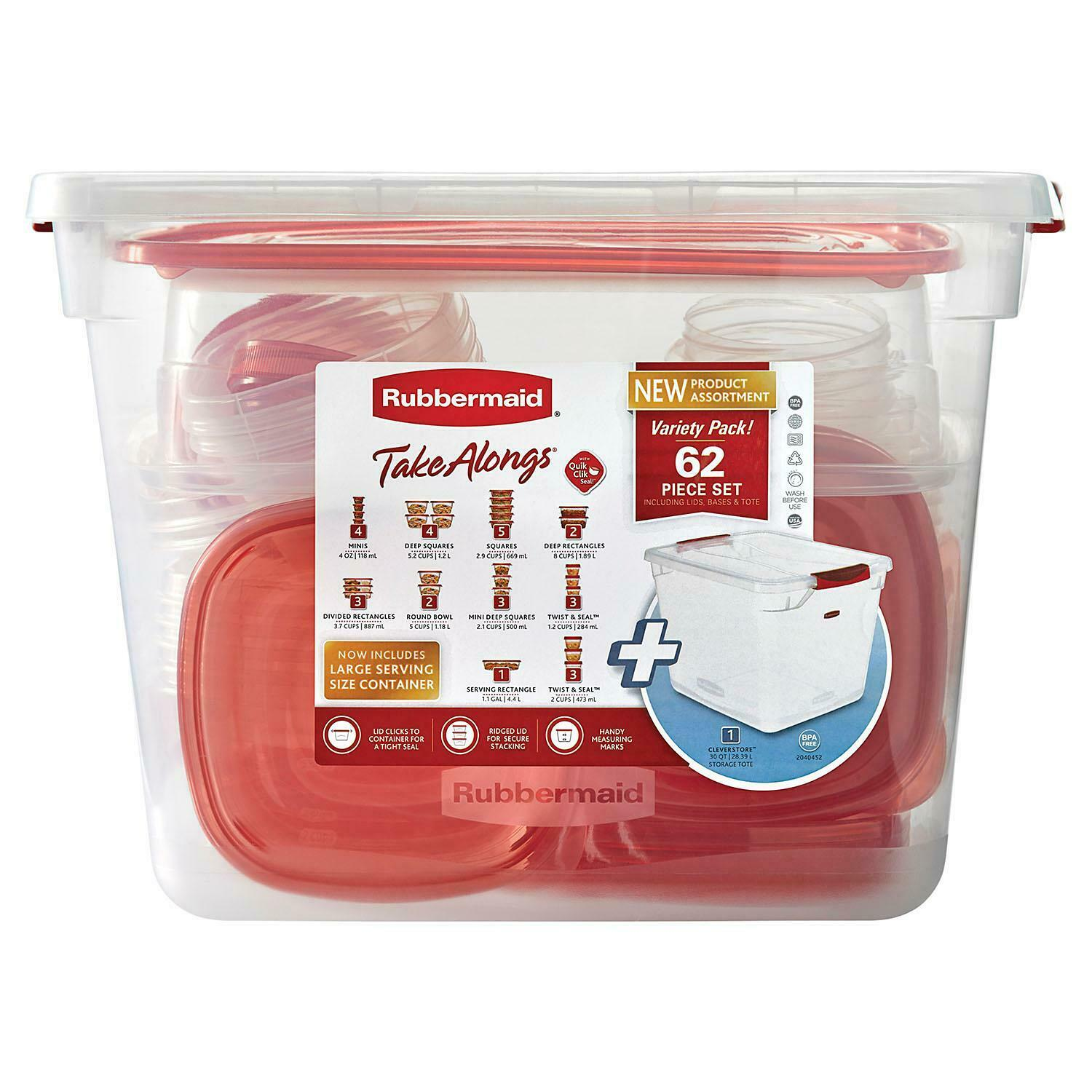 62 pc Rubbermaid TakeAlongs Food Storage Container Set Kitchen Plastic Lunch Box 1