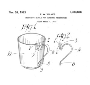 """Emergency Handle For Domestic Receptacles"", patented in 1922 by inventor Frederick Warren Wilkes of Birmingham, UK."