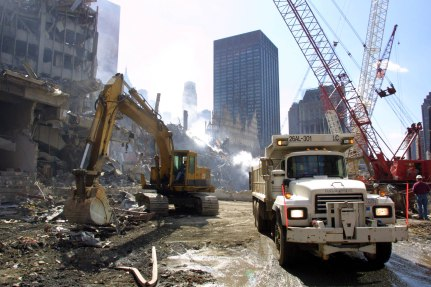 DSNY clean-up following September 11, 2001 disaster. From NYU Faculty Digital ARchive & New York Department of Sanitation Museum Project.