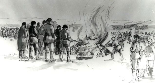 Historic Doukhobor 1895 Arms burning sketch by William Perehudoff, artist from Saskatoon, Saskatchewan, Canada.