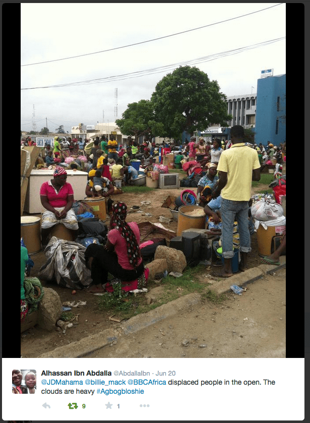 Residents Displaced from Old Fadama/Agbogbloshie. Source: https://twitter.com/AbdallaIbn/status/612300680473219072/photo/1