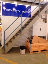 A bin of waste for reuse at the Proton Synchronizer
