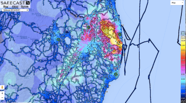 The map produced by many citizens using SafeCast devices to map radiation in Japan.
