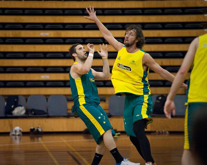 Adam Gibson, Matt Nielsen - Boomers - Australian Men's Basketball Team Open Training Session, The Southport School, Queensland, Australia; 28 July 2011. Photos by Des Thureson:  http://disci.smugmug.com.