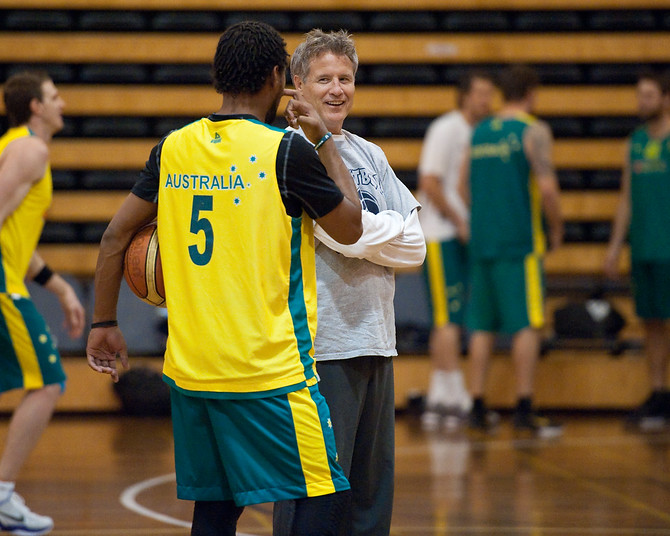 Boomers basketball Head Coach Brett Brown chats with Patty Mills - Boomers - Australian Men's Basketball Team Open Training Session, The Southport School, Queensland, Australia; 28 July 2011. Photos by Des Thureson:  http://disci.smugmug.com.