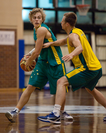 Hugh Greenwood, Brad Newley - Boomers - Australian Men's Basketball Team Open Training Session, The Southport School, Queensland, Australia; 28 July 2011. Photos by Des Thureson:  http://disci.smugmug.com.