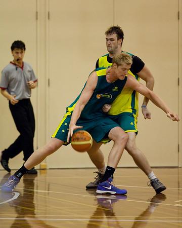 Luke Nevill, AJ Ogilvie - Boomers - Australian Men's Basketball Team Open Training Session, The Southport School, Queensland, Australia; 28 July 2011. Photos by Des Thureson:  http://disci.smugmug.com.