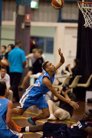 Jamal Robateau, Kalif Bakare - NBL Pre Season Basketball: Gold Coast Blaze v University of Texas San Antonio; Carrara, Gold Coast, Queensland, Australia. Photos by Des Thureson:  http://disci.smugmug.com.