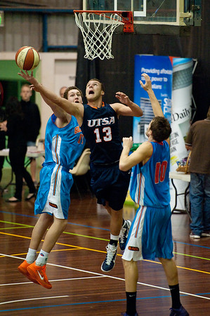 Igor Nujic, Jarrod Camble - NBL Pre Season Basketball: Gold Coast Blaze v University of Texas San Antonio; Carrara, Gold Coast, Queensland, Australia. Photos by Des Thureson:  http://disci.smugmug.com.