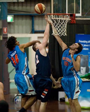 Tyler Wood, Zac Carter, Keba Bhatti - NBL Pre Season Basketball: Gold Coast Blaze v University of Texas San Antonio; Carrara, Gold Coast, Queensland, Australia. Photos by Des Thureson:  http://disci.smugmug.com.