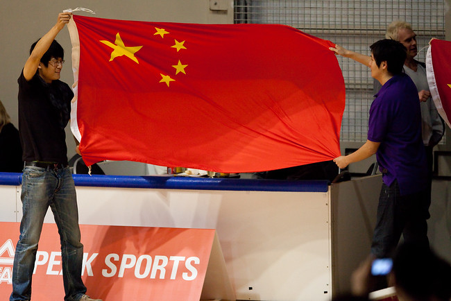 Chinese Flag - Opals v China International Women's Basketball, Logan Metro Sports Centre, Crestmead, Queensland, Australia; 24 July 2011. Photos by Des Thureson:  http://disci.smugmug.com.