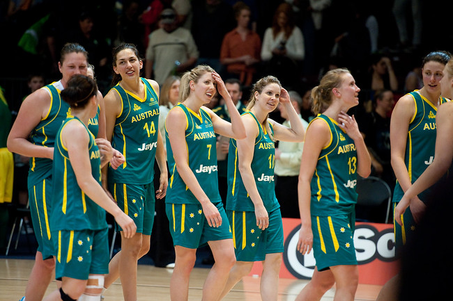 Team members include Rachael Flanagan, Jessica Bibby, Suzy Batkovic, Tess Madgen, Marianna Tolo, Hanna Zavecz - Opals v China International Women's Basketball, Logan Metro Sports Centre, Crestmead, Queensland, Australia; 24 July 2011. Photos by Des Thureson:  http://disci.smugmug.com.