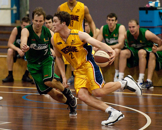 Jarred Bairstow, Tim Smith - QBL Quarter Final Basketball: Gold Coast Rollers v Brisbane Capitals; Carrara, Gold Coast, Queensland, Australia. Photos by Des Thureson:  http://disci.smugmug.com.