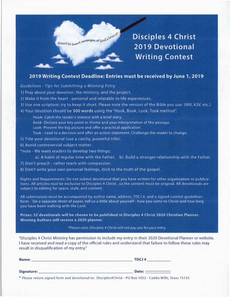 1st Annual Devotional Writing Contest For Offenders