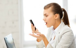 upset woman iPhone