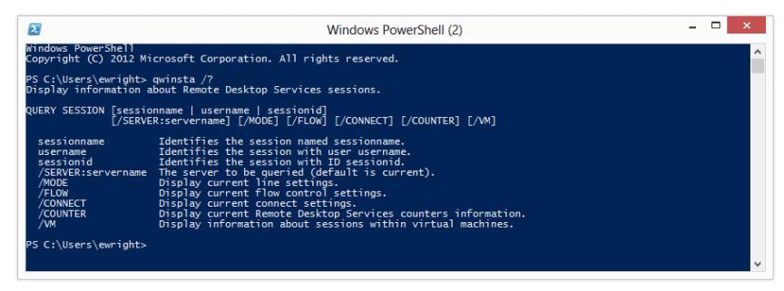 QWINSTA PowerShell help