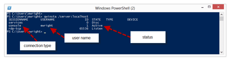 query session rdp QWINSTA powershell output