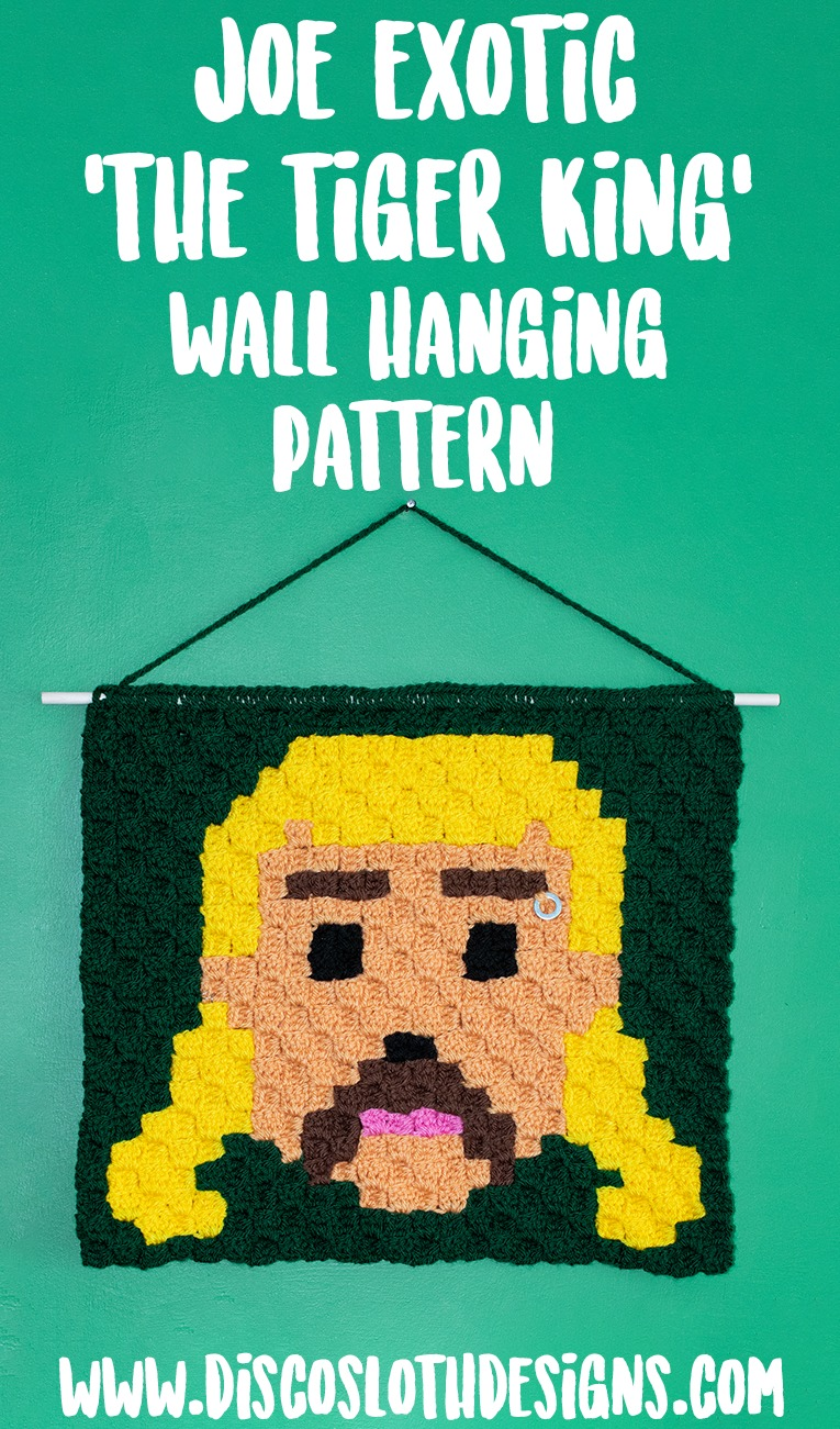 Joe Exotic The Tiger King wall hanging using corner to corner crochet